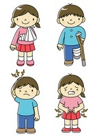 腹痛と頭痛の子供と骨折と脱臼の子供 10468000188| 写真素材・ストックフォト・画像・イラスト素材|アマナイメージズ