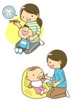 子供の歯みがきをするお母さんと離乳食の子供