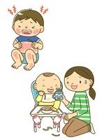 アレルギーの子供と離乳食を食べさせるお母さん