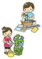 工作とアサガオの観察をする夏休みの小学生 10468000192| 写真素材・ストックフォト・画像・イラスト素材|アマナイメージズ
