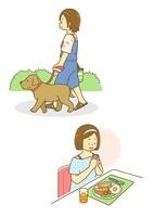 犬の散歩をする女性と朝ごはんを食べる女性