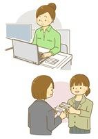 パソコンで作業する女性と名刺交換をする女性