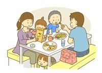 レストランで食事をする家族