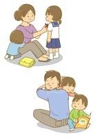学校に行く支度をする親子・子守をするお父さん