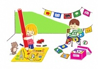 地図を描く女の子と旗を飾る男の子