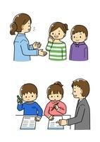 説明する先生と生徒・問題を解く小学生と説明する先生