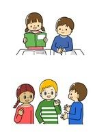教科書を読む生徒・外国の子供と話す小学生 10468000218| 写真素材・ストックフォト・画像・イラスト素材|アマナイメージズ