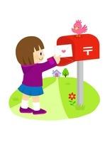 ポストから手紙を取る女の子と小鳥