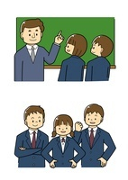 黒板で説明する先生と生徒 中学生の男女