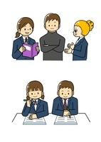 外国の生徒と話す中学生 テストを受ける中学生男女