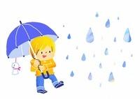 傘をさす子供と雨