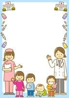 小児科病院の先生と子供のフレーム