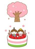 桜の木とひなまつりケーキ