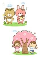 春の野原で遊ぶ熊とうさぎ 桜と子どもたち