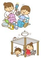 防災グッズをつめる子供と地震で机の下に隠れる子供