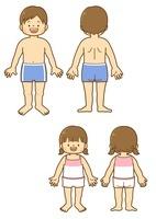 男子の体と女子の体の前と後ろ