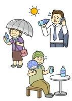 熱中症予防をする老人と水分補給するサラリーマン