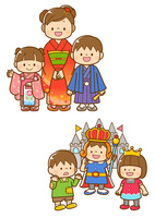 七五三の着物を着た子ども、学芸会の劇をする子ども