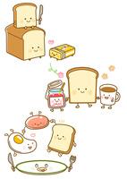 パンとバター、パンとコーヒーとジャム、朝食プレート
