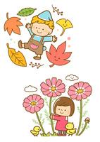 紅葉した落ち葉と子供、コスモスの花と子供