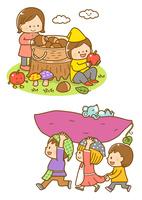 木の実をあつめる子ども、お芋を運ぶ子ども