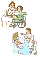 血圧を測る車いすの男性と骨折で入院するおばあさん