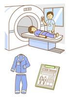 MRIの検査をうける男性とパジャマとカルテ