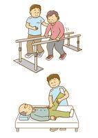リハビリをする老人と男性介護士