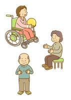 車いすの女性と老人