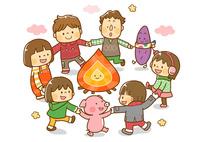 たき火のまわりを回る子供と動物たち