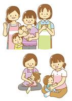 子育てママと支援する女性、産後ママと赤ちゃん