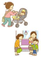 ベビーカーに乗った赤ちゃん、お年寄りに席を譲る子供