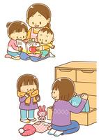 読み聞かせをするお母さんと子供、タンスから出した服を着る子供 10468000305| 写真素材・ストックフォト・画像・イラスト素材|アマナイメージズ