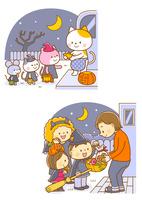 ハロウィンの動物たち、ハロウィンのお菓子をもらう子供たち