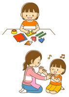 おりがみをする女の子、手遊びをする女の子と先生