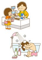 買い物をする女の子、髪を洗う女の子