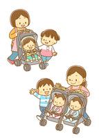 ベビーカーに乗った赤ちゃん、双子用ベビーカーと親子