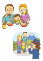 ラーメンを食べる外国人家族、記念撮影をする白人家族