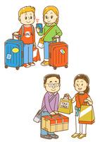 スーツケースを持った白人観光客、買い物をした東洋人観光客