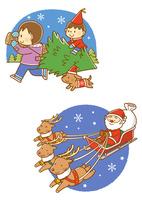 クリスマスツリーを運ぶ子供、ソリにのるサンタクロース