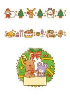 サンタクロースとツリー、ケーキとチキン、クリスマスリース