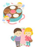 ホワイトデーのクッキーと天使、ホワイトデーの男の子と女の子