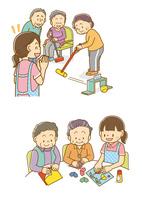 ゲートボールをする老人とヘルパー、折り紙をする老人とヘルパー