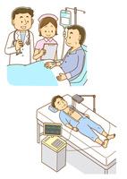 医師の説明を受ける患者と看護師、心電図を測定する男性