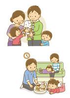 子犬を抱っこする父親と家族、ペットの猫と遊ぶ女の子と家族