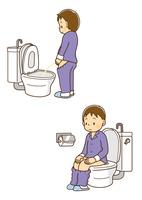 洋式トイレで用を足す男の子、洋式便器に座って用をたす男の子