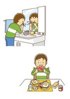洗面所で顔を洗う男の子、朝食にパンを食べる男の子