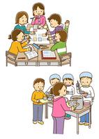 班でグループ学習をする小学生、給食当番でおかずを盛り付ける男の子