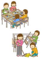 グループで給食を食べる小学生、教室の掃除をする小学生