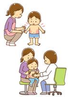 湿疹の出た幼児と母親、皮膚科を受診する親子と診察する女性医師